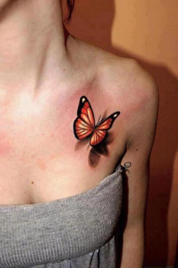 beautiful 3d butterfly tattoo