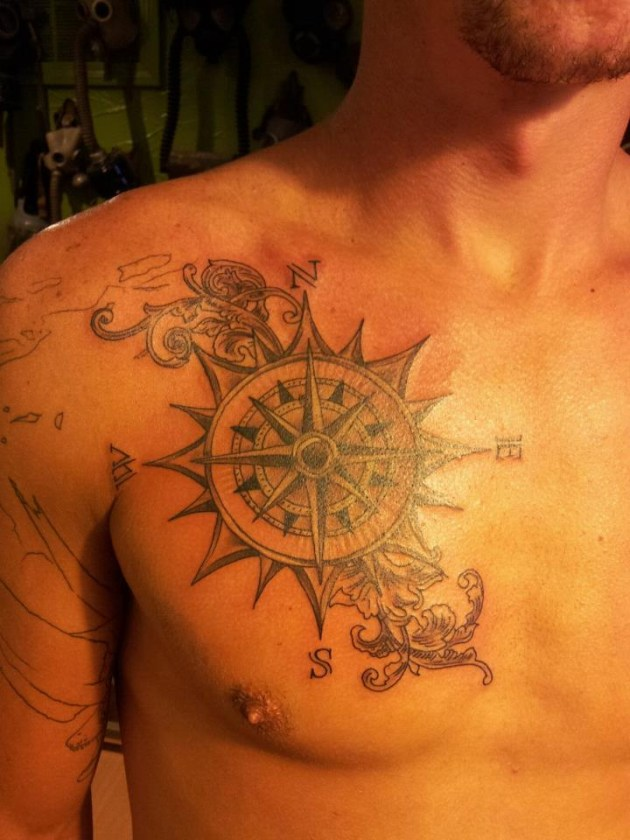 Chest Compass Tattoo