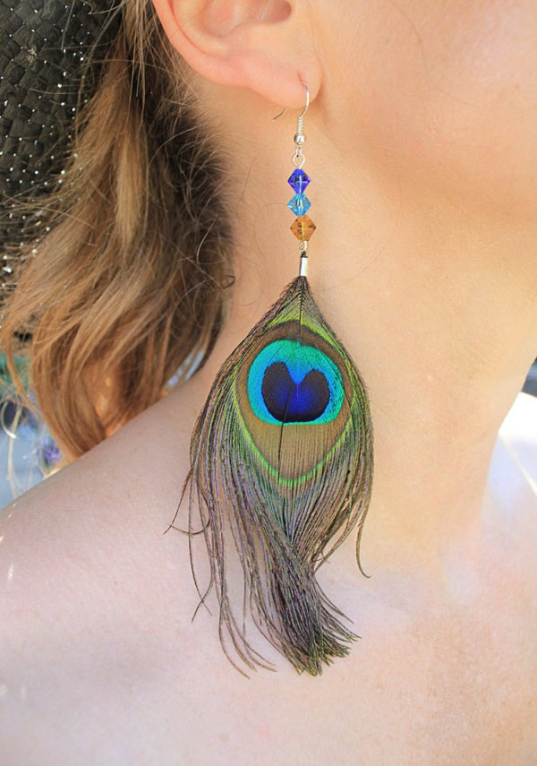 Turquoise Peacock Feather Earrings