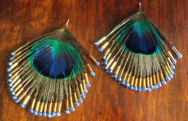 beaded peacock feather earrings