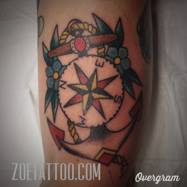 Anchor Compass Tattoo