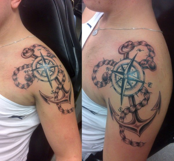 shoulder anchor with compass tattoo