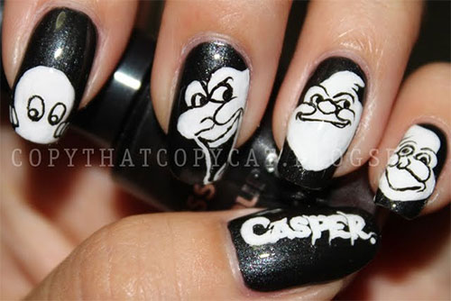 scary casper halloween nails