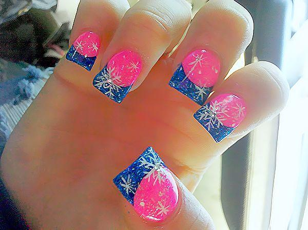 blue tips snowflakes pink winter nails