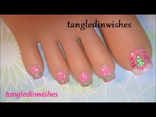 Cute lovely pink toe nails