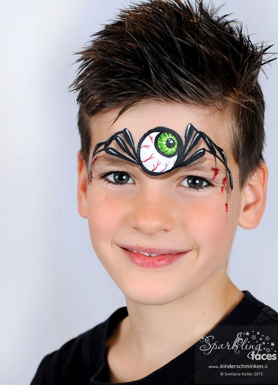 3d one eye spider face painting