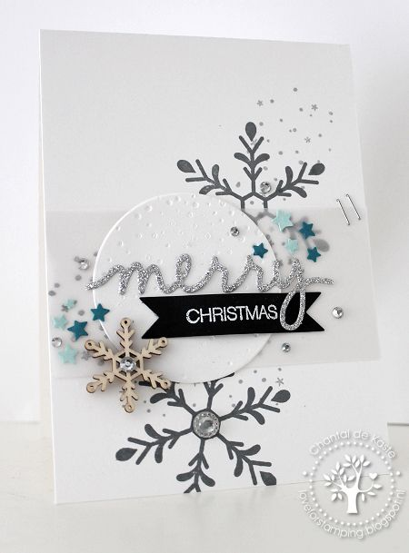 Merry Christmas snowflakes card photo