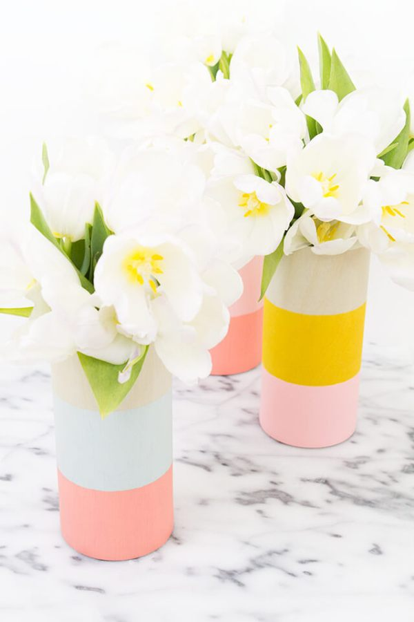 Colored wood vases