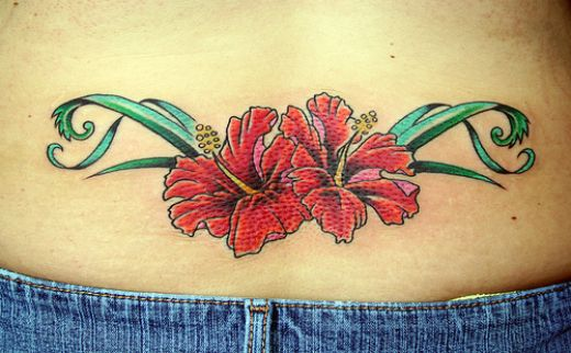 Couple Flower Colored Tattoo Lower Back