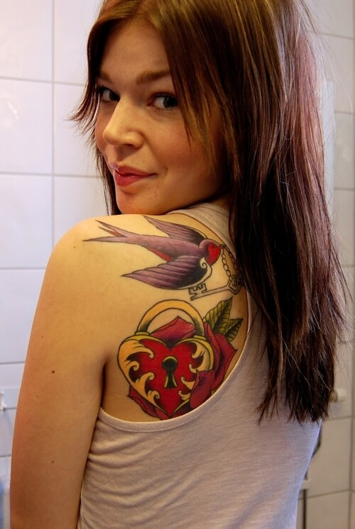 Upper Back Shoulder Key Heart Sparrow Tattoo
