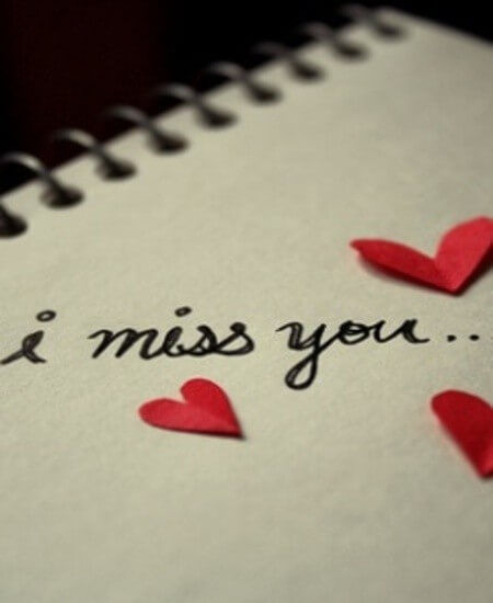 i miss you note text