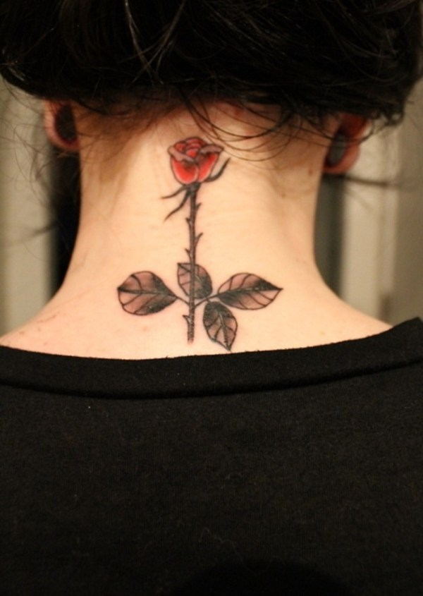 Beautiful rose tattoo on back of neck