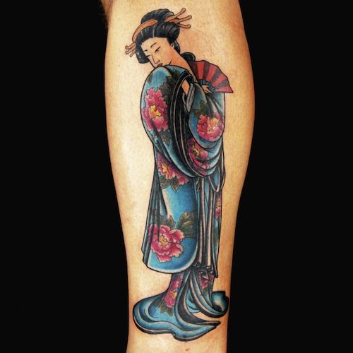 Fan Geisha tattoo design