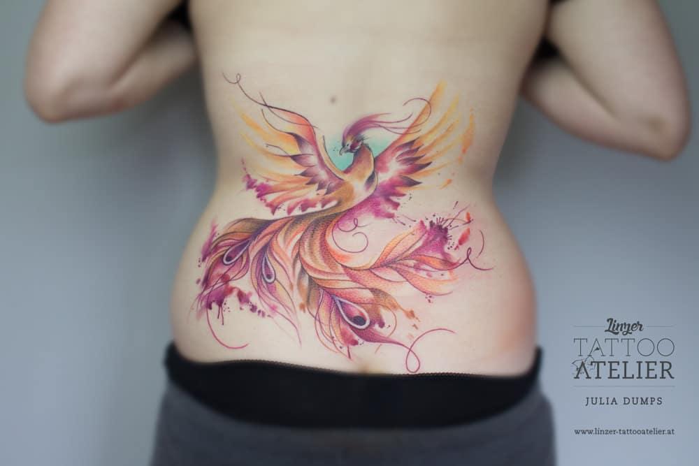 Phoenix Watercolor Tattoo On Back on Phoenix Bird Drawings