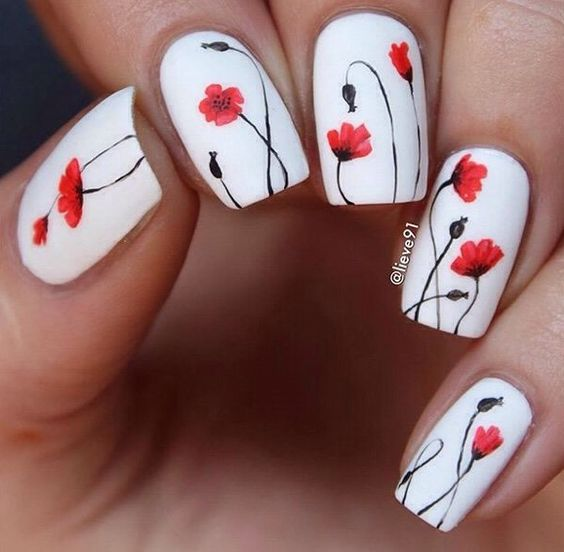 white nails with spring flowers