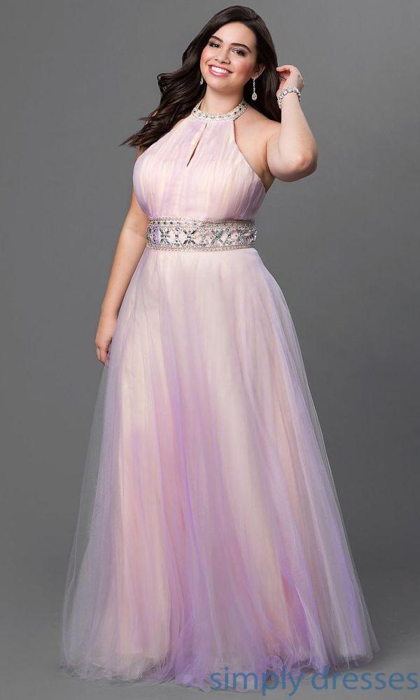 Pretty light purple full length sleeveless plus size prom dress