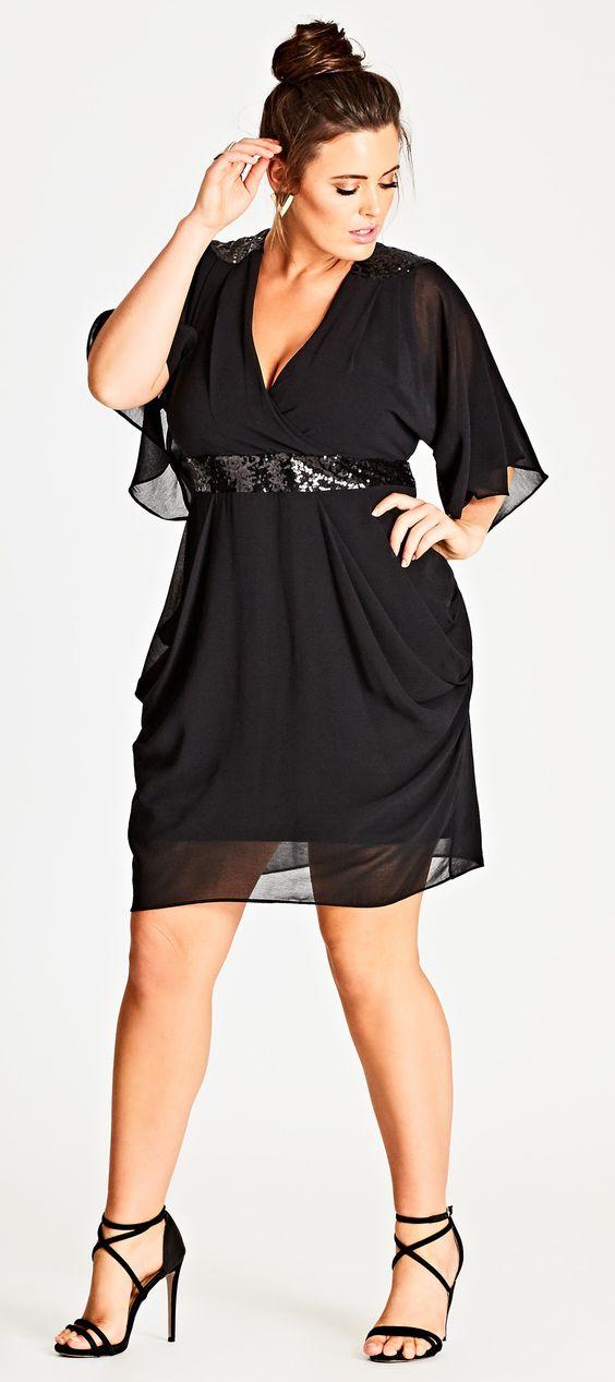 black color plus size cocktail dress shimmery waist belt