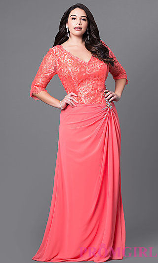 full length V neck plus size prom dress with half sleeves ...