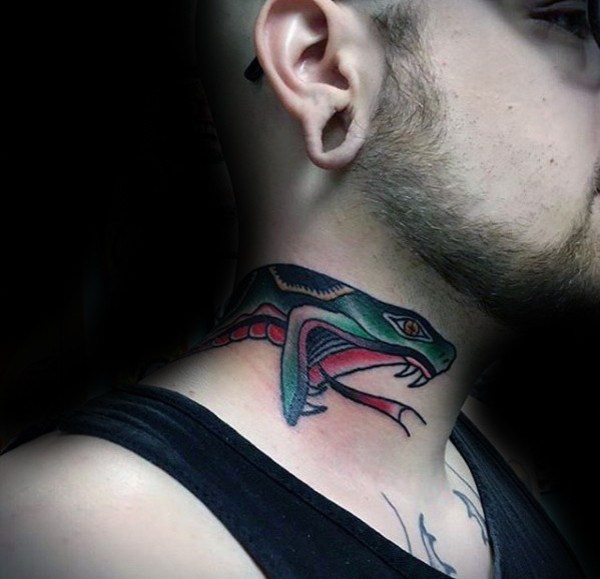 Rattling Snake neck Tattoo