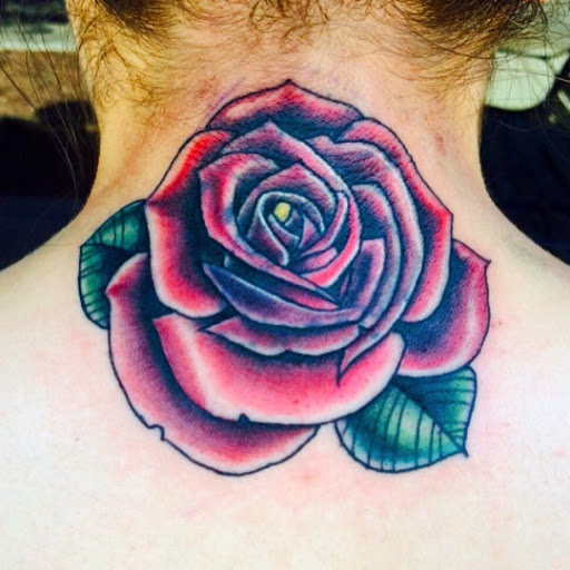 Rose tattoo designs for women on Neck