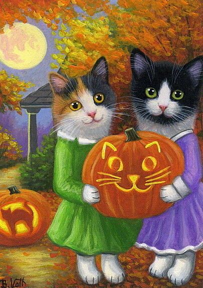Kittens cats jack o lanterns pumpkins Halloween moon original aceo painting art