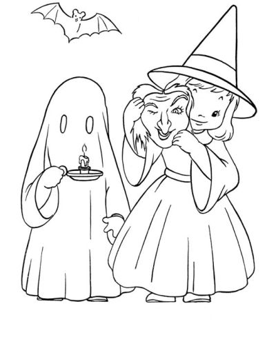 Witch and Ghost Halloween Coloring Photo