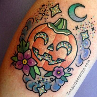 cute Halloween pumpkin tattoos