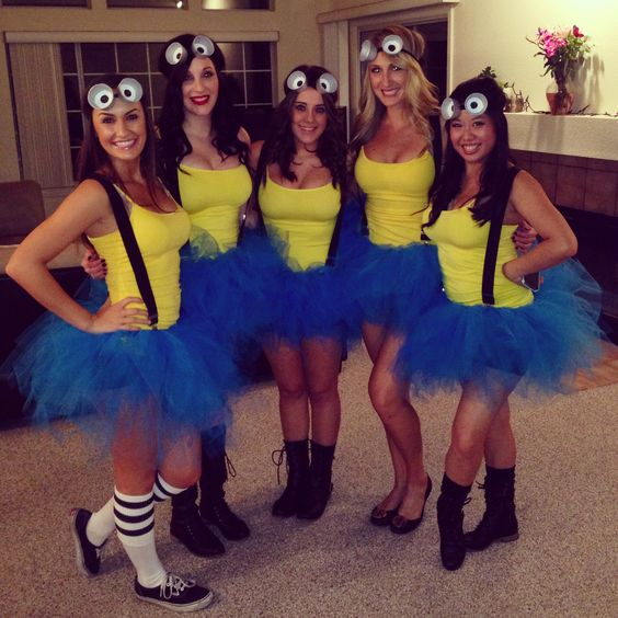 cute hot diy minions girl group costume ideas
