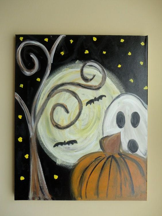 easy halloween painting idea
