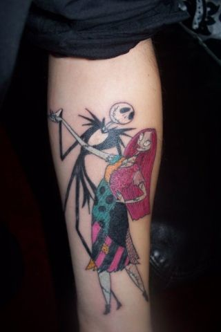 jack skellington and sally couple tattoos