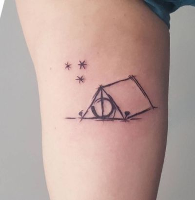 starry night Perkins tent Deathly Hallows tattoo