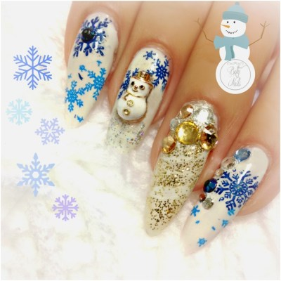 winter snowman nails design with gems-glitter and snowflakes