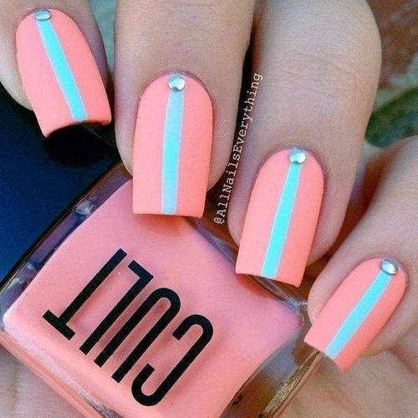Easy Pretty Pink and Green Nail Designs