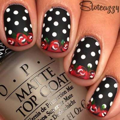 vintage style rose nail designs with dots