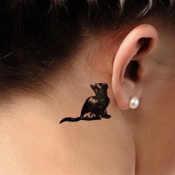 behind the ear cat tattoo