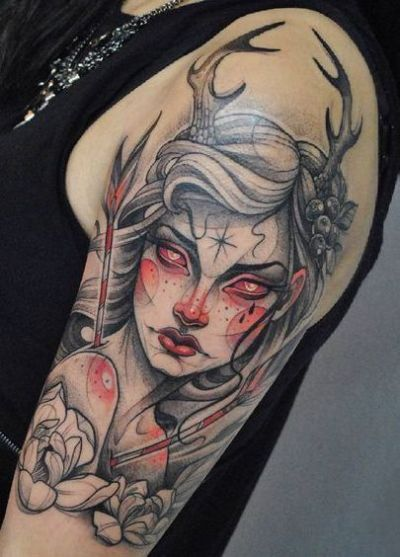 neo traditional female half sleeve tattoo
