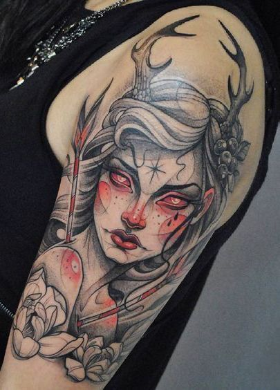 Traditional Neo Witch Tattoo