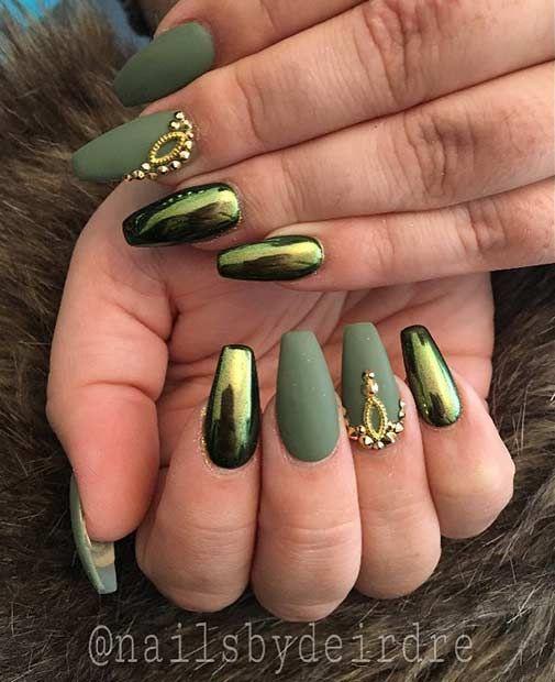 Holographic Matte nail art