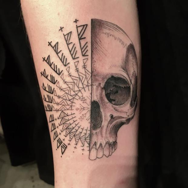 Scott Campbell tattoo sketch on forearm