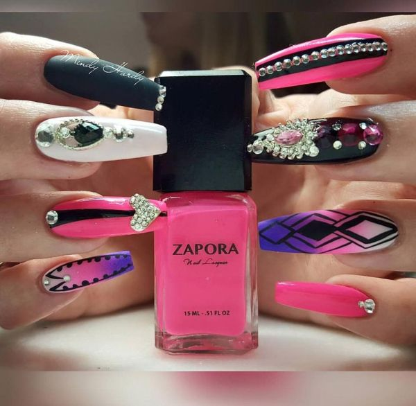 coffin shaped nails designs