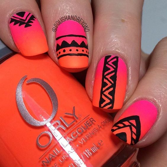 4 neon tribal nails