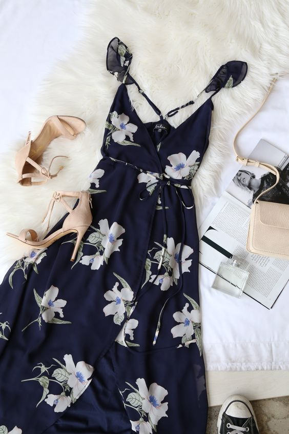 All Mine Navy Blue Floral Print High-Low Wrap Dress