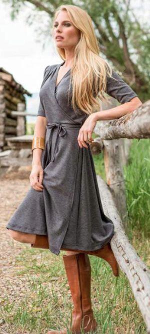 Grey Wrap Jersey Dress
