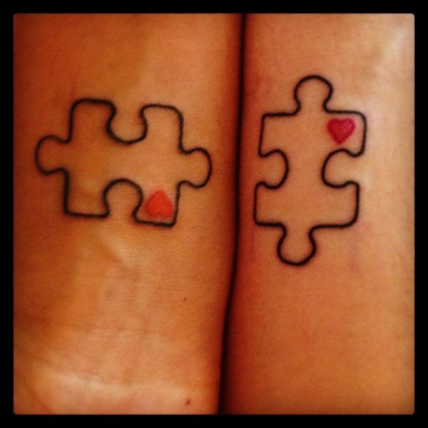 matching puzzle piece tattoo