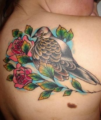back shoulder dove and rose tattoo for women