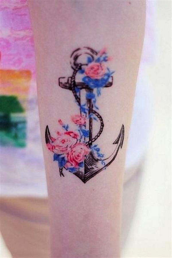 colorful flower anchor tattoo