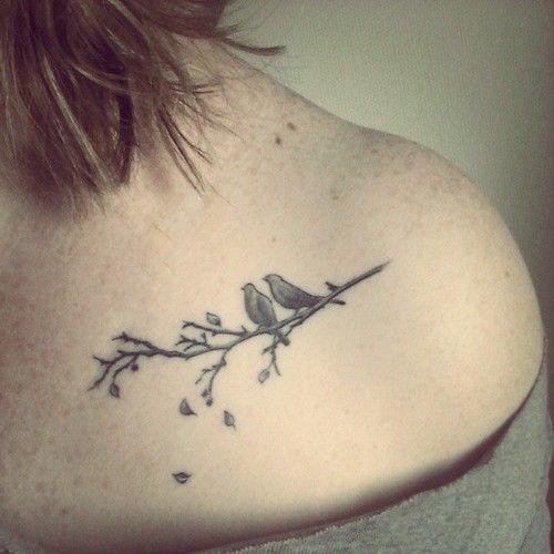 birds on tree branch tattoo on shoulder for women