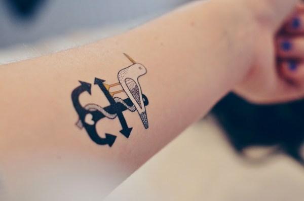tiny heart anchor and seagull tattoo