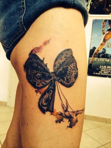 beautiful bow tattoo for girls