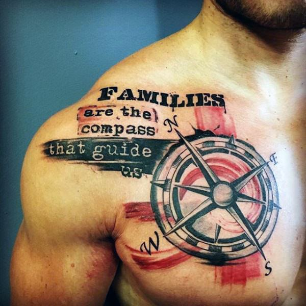 meaningful family quote with compass tattoo